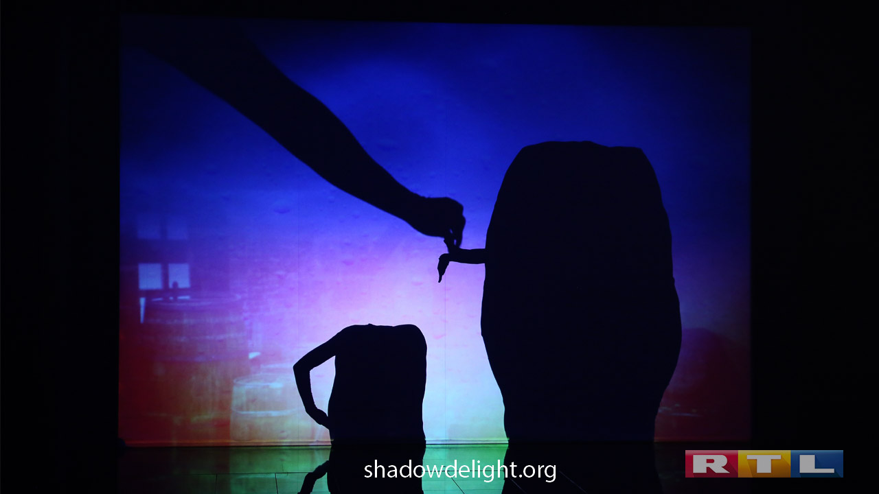 Participation shadow theater Delight in the TV show Die Puppenstars